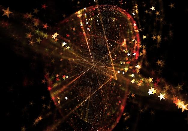 葉の形を形成する抽象的な星の背景