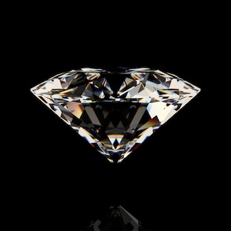 Shiny white diamond on black background