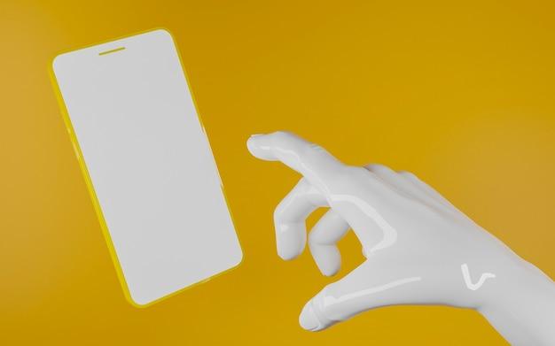 노란색 배경 앞의 빈 화면이 노란색 휴대 전화를 가리키는 반짝이 흰색 플라스틱 손. 3d 렌더링