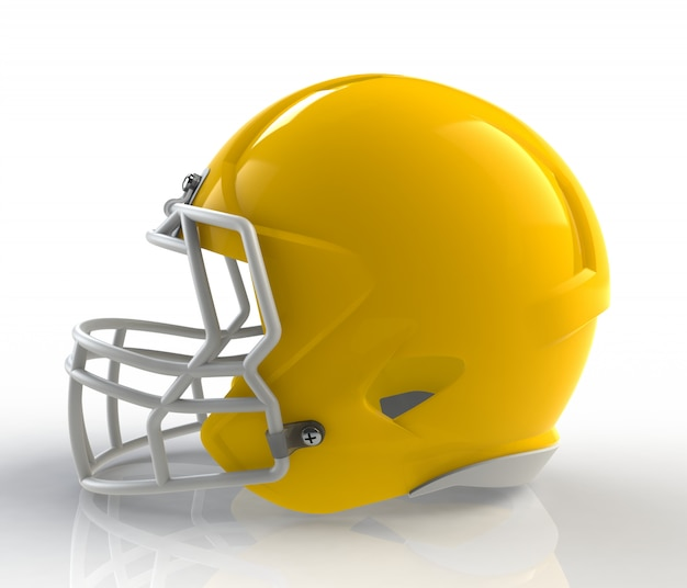 Shiny yellow wax american football helmet side view on a white background