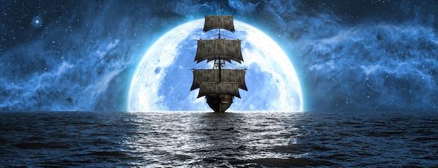 달의 배경과 아름다운 하늘, 3d 일러스트에 대해 바다에서 배
