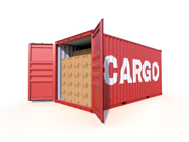 Ship cargo container side view with cardboard boxes, isolated on white