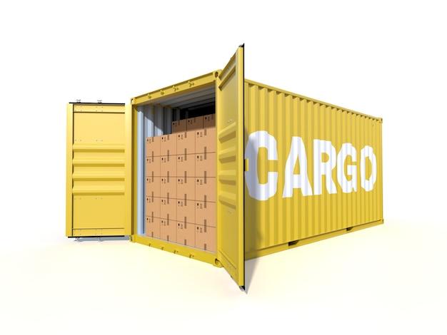 Судовой грузовой контейнер, вид сбоку с картонными коробками