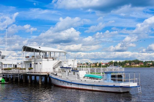 Ship near pier on river kotorosl. yaroslavl, russia