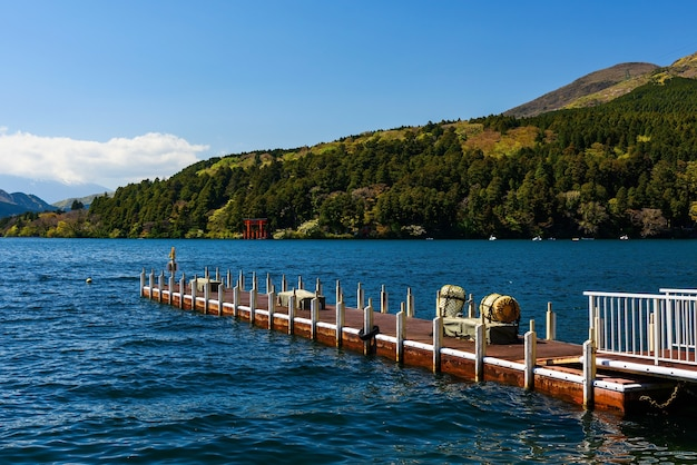 Ship port and red torii gate at lake ashi, hakone, japan