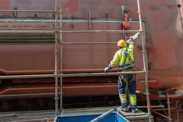 Ship repairing works in dry dock