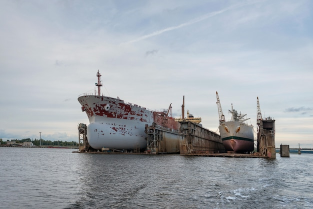 Ship repairs floating docks