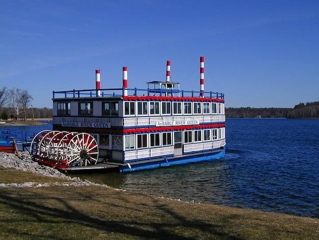 Ship riverboat paddle wheeler river dock  boat