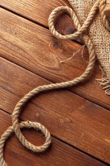 Ship rope at wooden