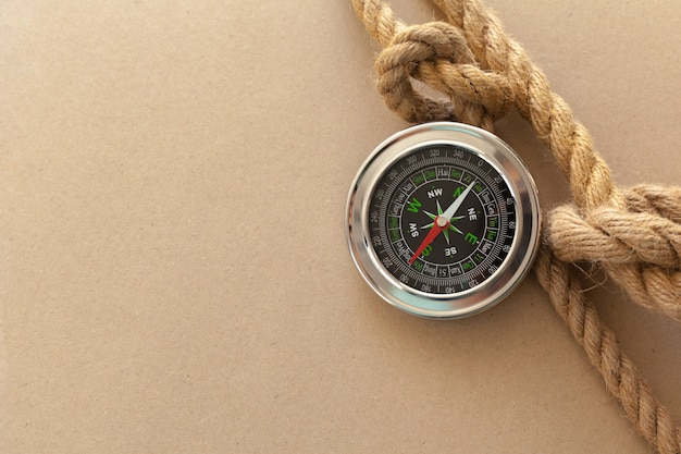 Ship ropes and compass background