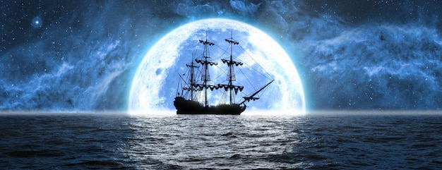 Ship at sea against the background of the moon and the beautiful sky, 3d illustration