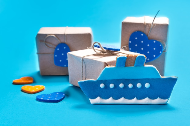 Ship shaped gingerbread cookies