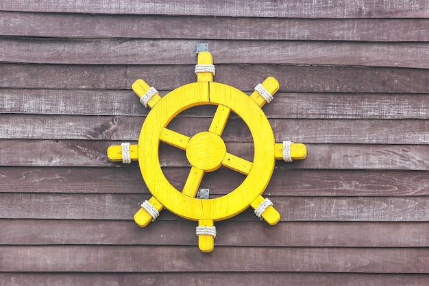 Ship steering decorative on wall