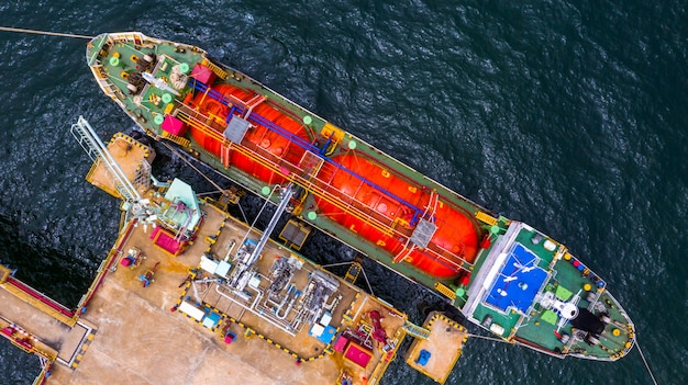 Ship tanker gas lpg, aerial view liquefied petroleum gas