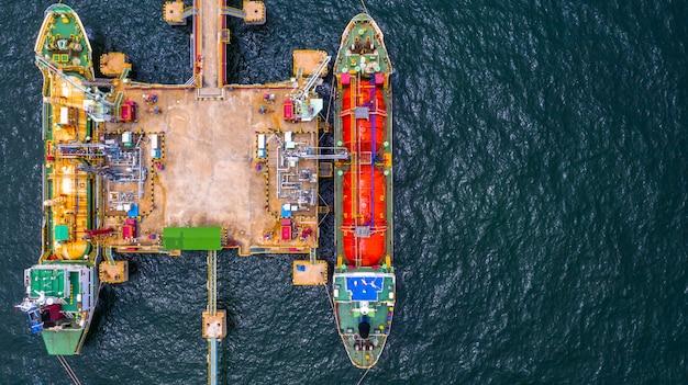 Ship tanker gas lpg, aerial view liquefied petroleum gas