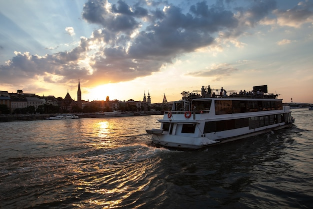 Ship with an excursion sailing on the river danube