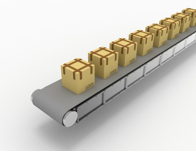 Shipping of boxes on conveyor . 3d rendered illustration