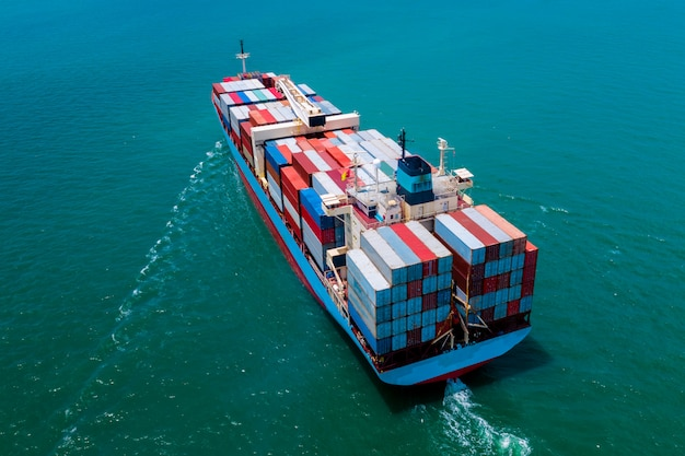 Shipping cargo container service business transportation import export international by the sea
