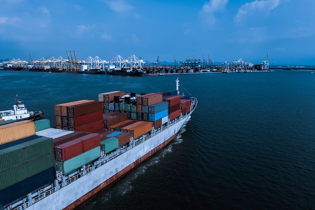 Shipping cargo container transportation business services international aerial view