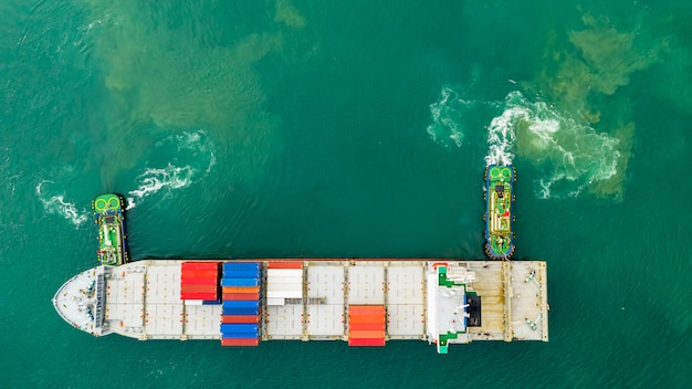Shipping cargo containers transportation on the sea