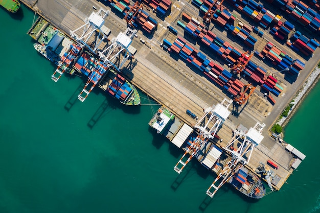 Shipping cargo containers transportation and shipping terminals top view