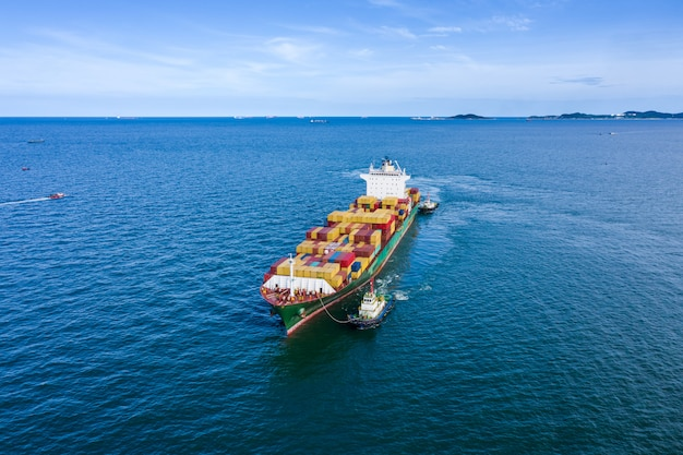 Shipping cargo logistics containers international open sea
