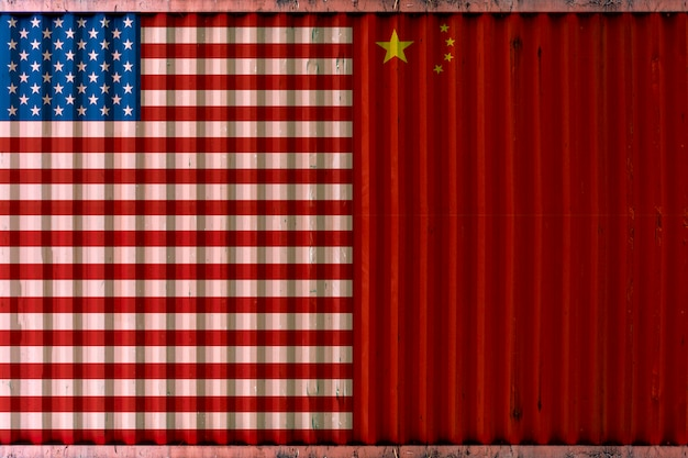 Shipping container with usa and china flag background, united state and china trade war concept