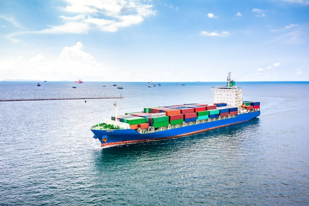 Shipping containers business transactions open sea pacific