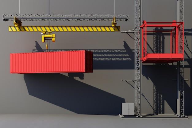 クレーンからぶら下がっている輸送コンテナ。 3dグローバルビジネスコマースの概念。 3dレンダリング