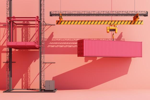 クレーンからぶら下がっている輸送コンテナ。 3dグローバルビジネスコマースコンセプトピンク色。 3dレンダリング