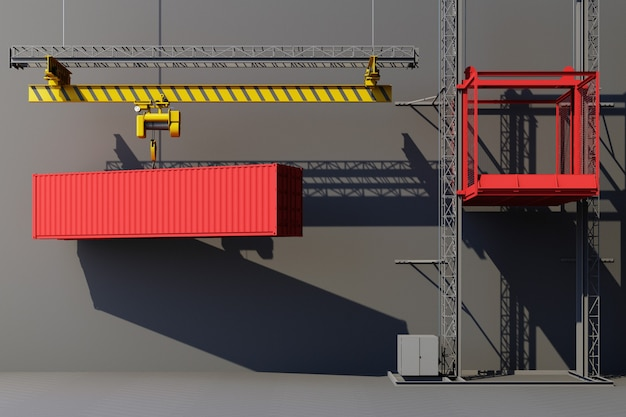 Shipping containers hanging from a crane. 3d global business commerce concept. 3d rendering