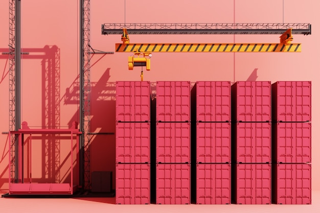 Shipping containers hanging from a crane. 3d global business commerce concept pink color. 3d rendering