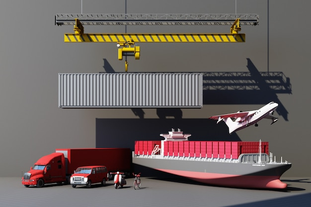 Shipping containers hanging from a crane with trailer and scooter bike and van. 3d global business commerce concept. 3d rendering