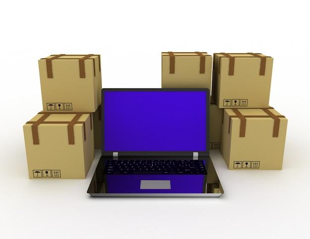 배송, 배송 및 물류 기술 비즈니스 산업 개념입니다. 렌더링 된 그림