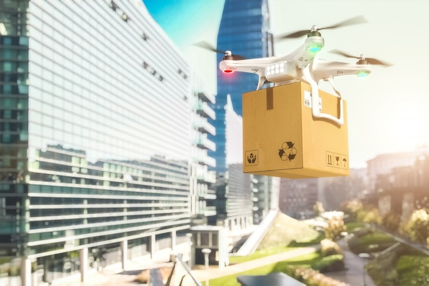 Shipping drone in town