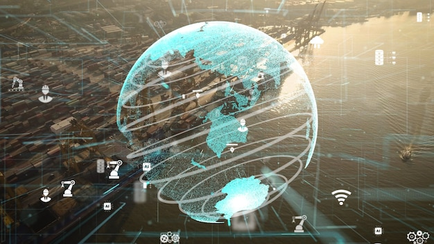 ネットワーク技術の近代化のグラフィックを備えた海運港の空中写真
