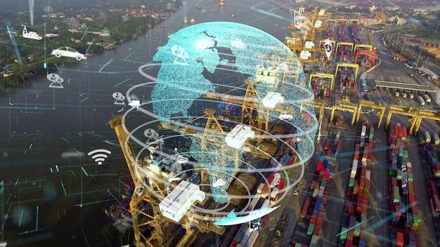 ネットワーク技術の近代化のグラフィックを備えた海運港の空中写真 Premium写真