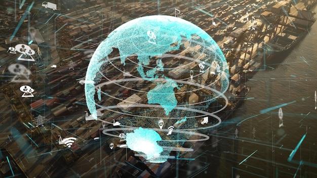Вид с воздуха на морскую гавань с графикой модернизации сетевых технологий