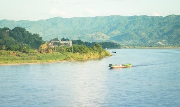 Shipping lao boat on the mae khong river