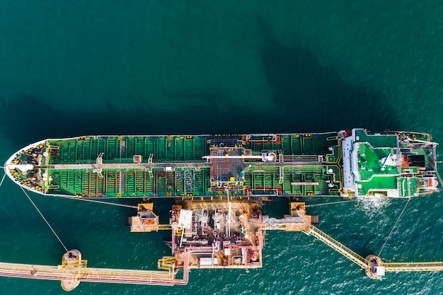 Shipping loading oil and gasoline on the sea aerial view