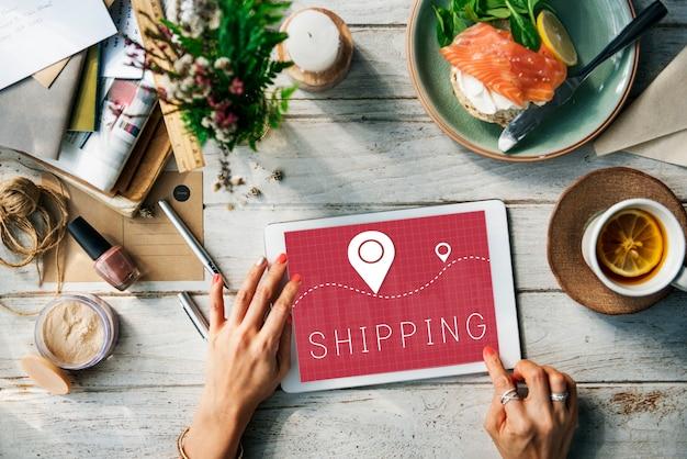 Spedizione logistica consegna merci cargo concept