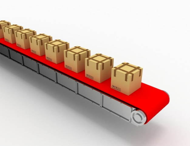 Отгрузка ящиков на конвейере. 3d визуализированная иллюстрация
