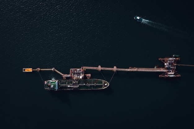 Shipping oil tank loading and unloading storage on the sea aerial view