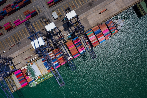 Shipping port loading and unloading station on the sea aerial view