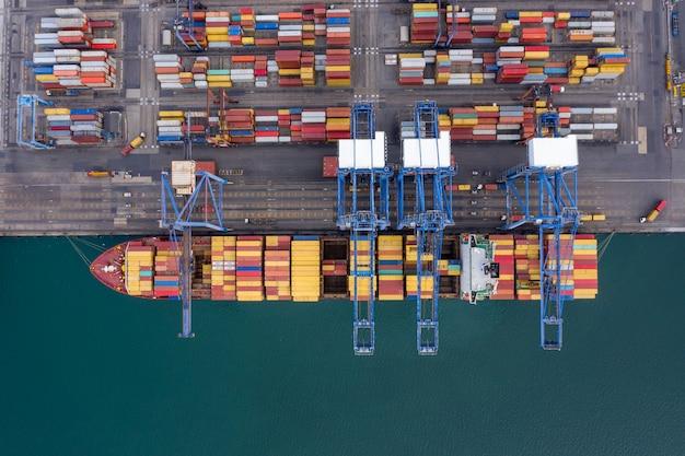 Shippng港と輸送コンテナー貨物物流ビジネスサービスインポートエクスポート国際航空写真ビュー