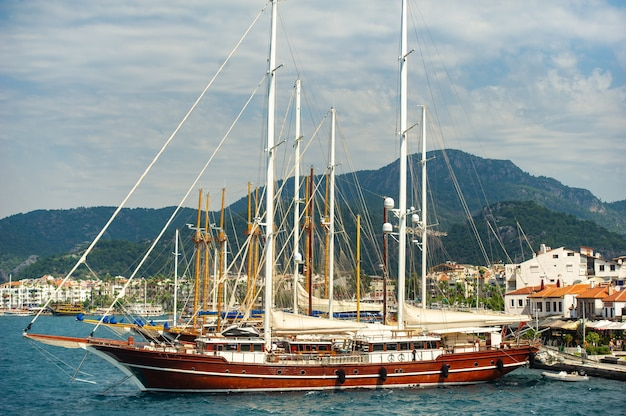 Ships with masts in the bay of marmaris.turkey