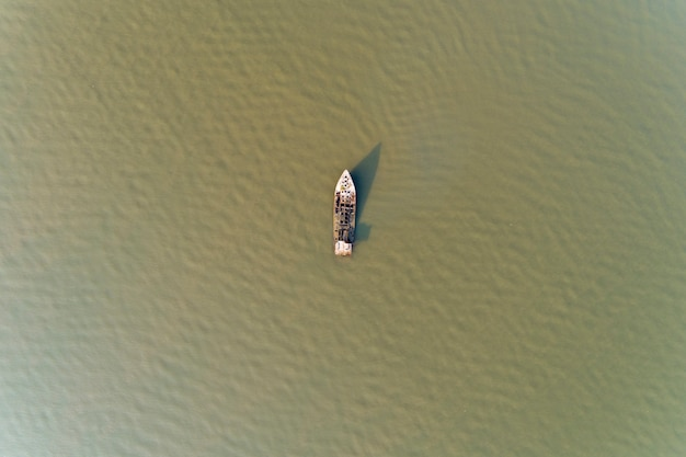 Shipwreck in the andaman sea high angle view drone shot