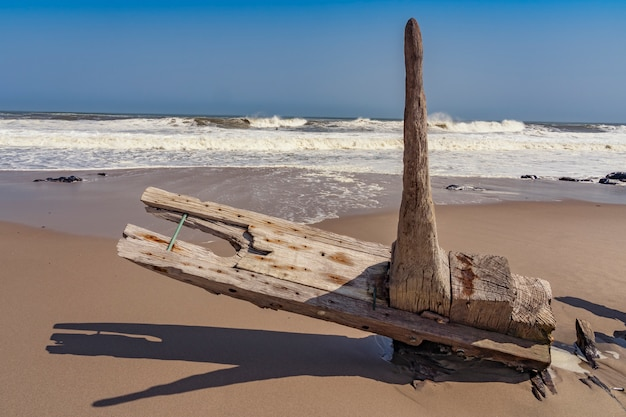 A shipwreck in the skeleton coast national park in namibia in africa.