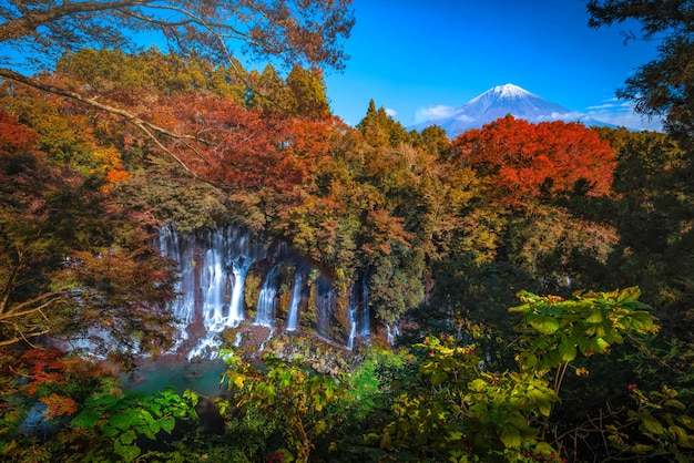 Shiraito falls with mt. fuji and colorful autumn leaf in fujinomiya, shizuoka, japan.