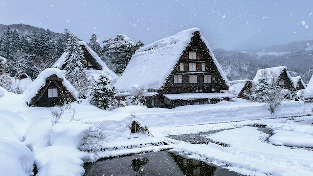 冬の白川郷村、日本の。